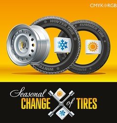 Tire Change Season One Wheel vector image
