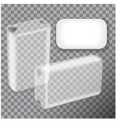 Transparent foil box soap realistic vector