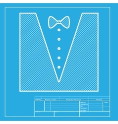 Tuxedo with bow silhouette White section of icon vector