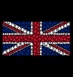 Uk flag collage of clubs suit icons vector