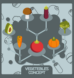 vegetebles color concept isometric icons vector image