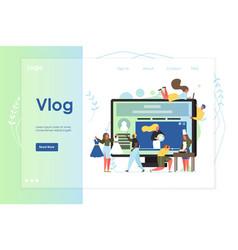 Vlog website landing page design template vector