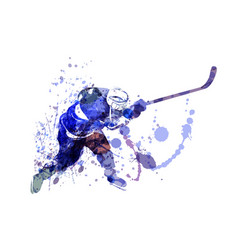 watercolor of hockey player vector image