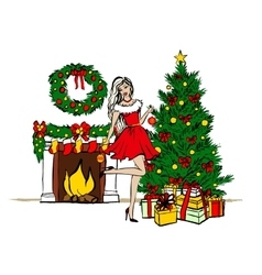 woman decorating Christmas tree vector image