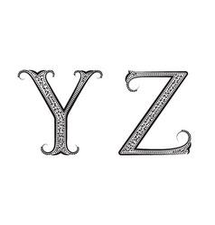 Y Z vintage patterned letters Font in floral vector image