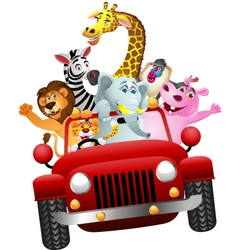 African animals in red car vector image vector image