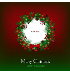 bright christmas background with christmas wreath vector image