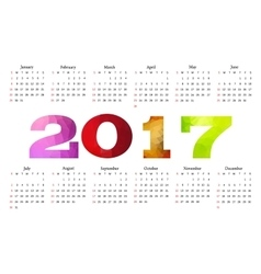 Calendar 2017 Week starts from Sunday vector image