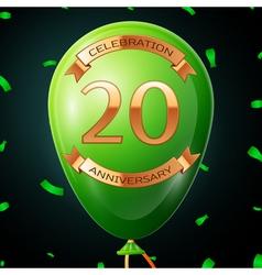 Green balloon with golden inscription twenty years vector image