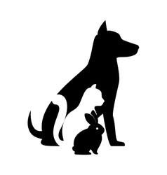 pet shop veterinary sign silhouette dog cat bunny vector image vector image