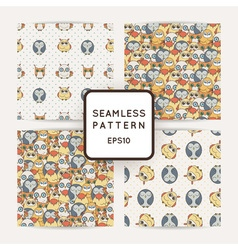 Set of random owls seamless patterns cute nignht vector
