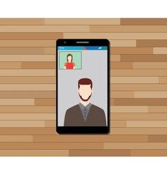 video call technology on smartphone graphic vector image