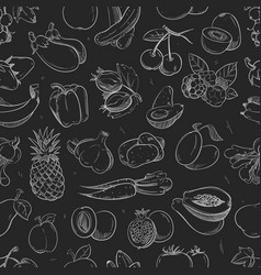 white doodle vegetables and fruits isolated on vector image
