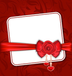 Beautiful card for Valentine Day with red rose and vector image vector image