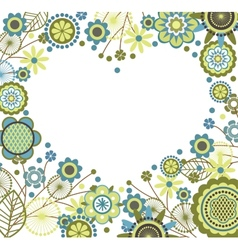 Floral frame in heart shape vector image vector image