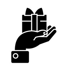 hand with gift icon black vector image