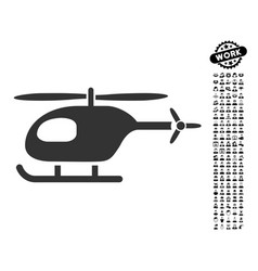 helicopter icon with professional bonus vector image