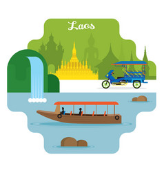 laos travel and attraction landmarks vector image vector image