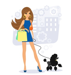 pretty young woman with poodle vector image vector image