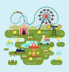circus with attractions or amusement park map vector image