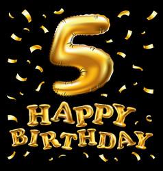 Happy birthday golden 5 number five metallic vector