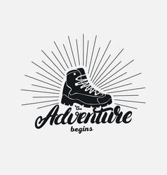 the adventure begins hand written lettering vector image