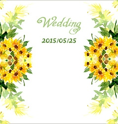 Watercolor card with flowers sunflower vector image