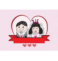 Cartoon hand drawn wedding couple wedding idea des vector image vector image