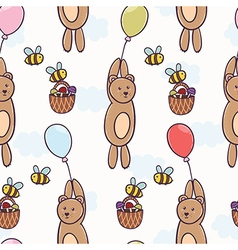 Cute bear flying on a balloon seamless pattern vector image vector image
