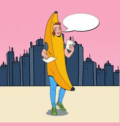 Pop art woman banana costume promoting something vector