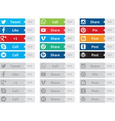 social media buttons vector image