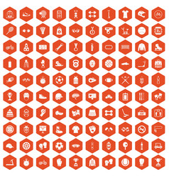 100 sport accessories icons hexagon orange vector
