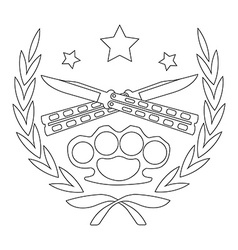 2 crossed knifes and brass knuckle line-art emblem vector image