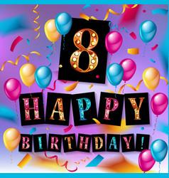 8th birthday celebration greeting card design vector image