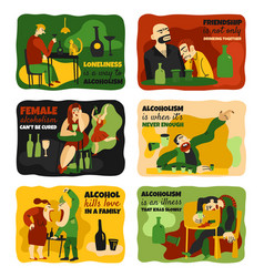 Alcohol addiction cards set vector