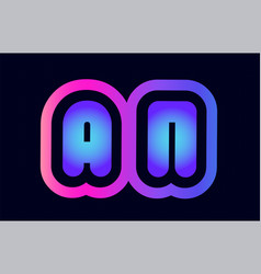 an a n pink blue gradient alphabet letter logo vector image