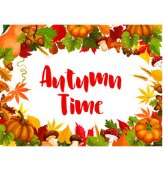 autumn time poster for fall nature season template vector image