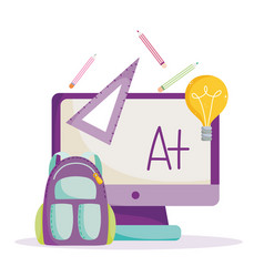 back to school online computer backpack ruler vector image
