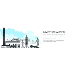banner of electric power transmission vector image