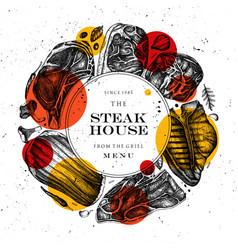 Beef steaks wreath design raw meat top view vector