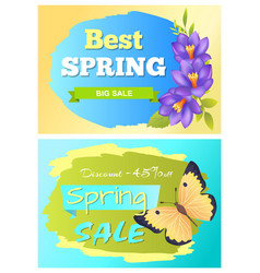 best spring big sale advertisement labels crocus vector image