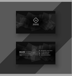 Black business card design with abstract shapes vector