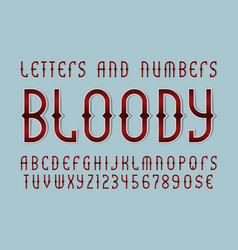 bloody red letters and numbers with currency vector image