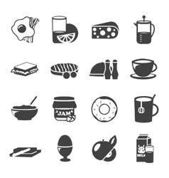 Breakfast black white icons vector