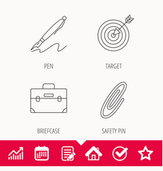 Briefcase safety pin and target icons vector
