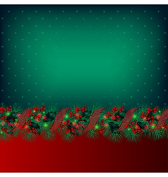 Bright green christmas background decorated by gar vector