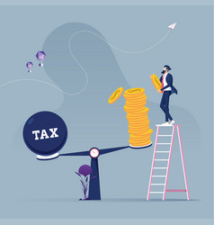 businessman use coins balancing with tax vector image