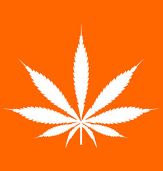 cannabis marijuana leaf white icon vector image