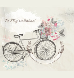 card with hand drawn bicycle and flowers vector image