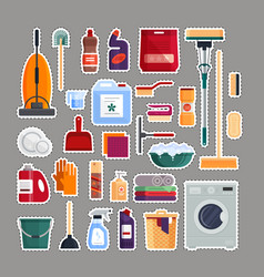 Cleaning service patches set house cleaning tools vector